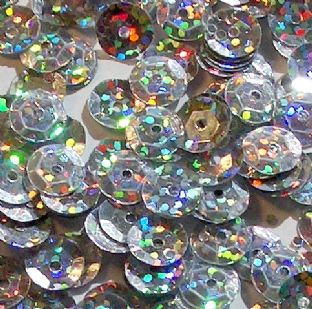 8mm Hologram Silver Semi-cupped Sequins x 20g